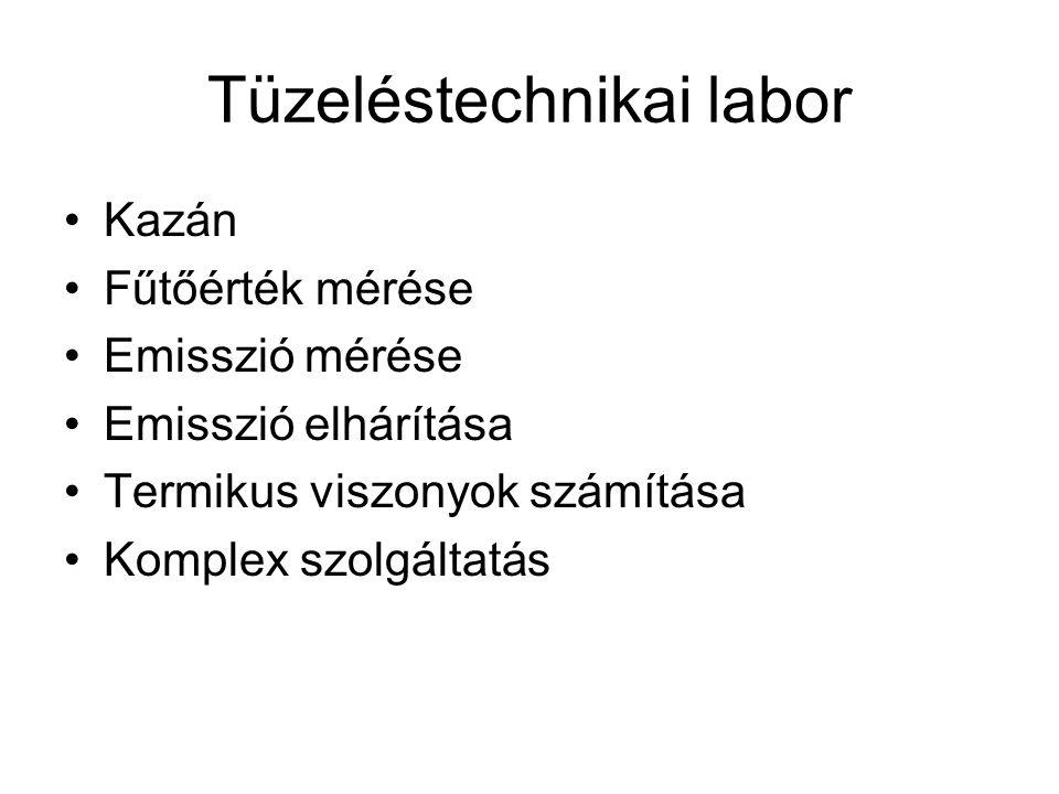 Tüzeléstechnikai labor •Kazán •Fűtőérték mérése •Emisszió mérése •Emisszió elhárítása •Termikus viszonyok számítása •Komplex szolgáltatás