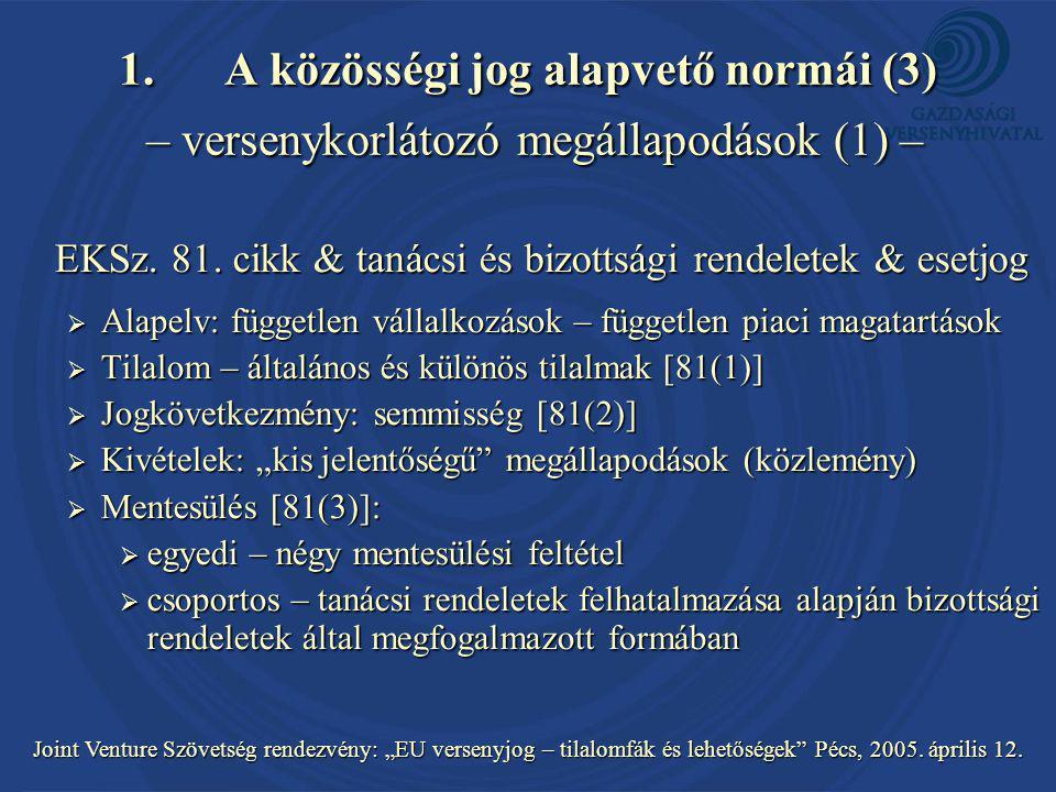 """Joint Venture Szövetség rendezvény: """"EU versenyjog – tilalomfák és lehetőségek Pécs, 2005."""
