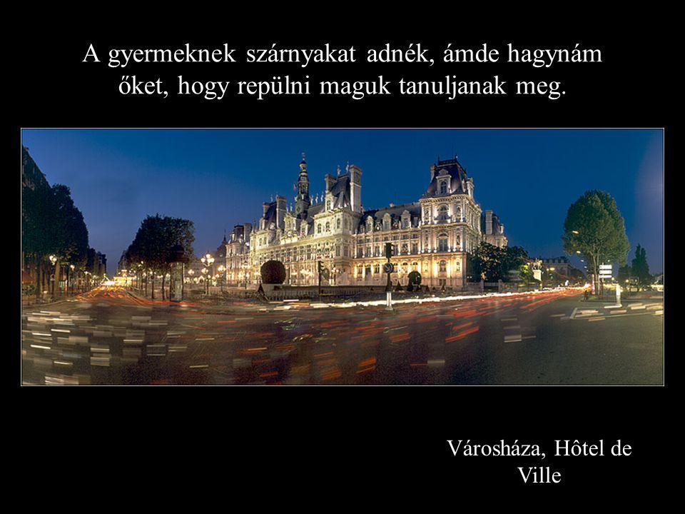 Városháza, Hôtel de Ville A gyermeknek szárnyakat adnék, ámde hagynám őket, hogy repülni maguk tanuljanak meg.