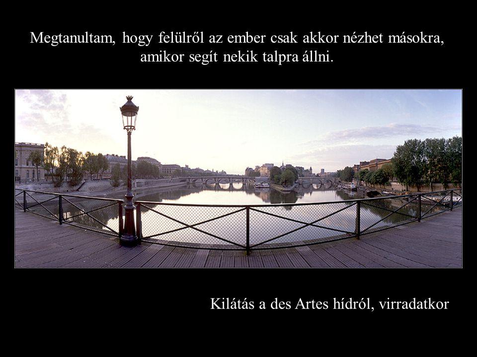 Kilátás a des Artes hídról, virradatkor Megtanultam, hogy felülről az ember csak akkor nézhet másokra, amikor segít nekik talpra állni.