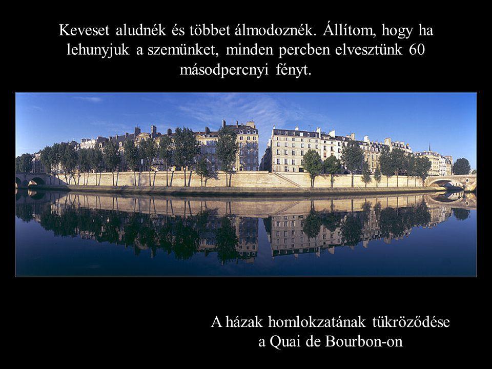 A házak homlokzatának tükröződése a Quai de Bourbon-on Keveset aludnék és többet álmodoznék.