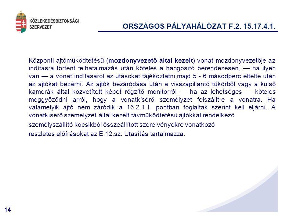 14 ORSZÁGOS PÁLYAHÁLÓZAT F.2.15.17.4.1.