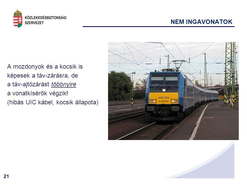 21 NEM INGAVONATOK A mozdonyok és a kocsik is képesek a táv-zárásra, de a táv-ajtózárást többnyire a vonatkísérők végzik.