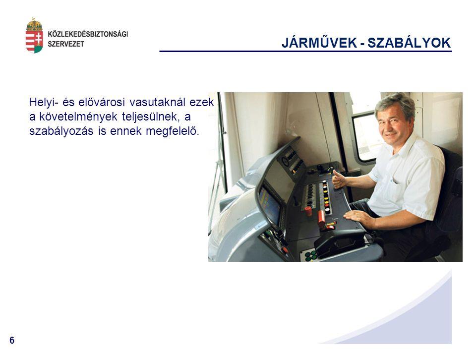 6 JÁRMŰVEK - SZABÁLYOK Helyi- és elővárosi vasutaknál ezek a követelmények teljesülnek, a szabályozás is ennek megfelelő.