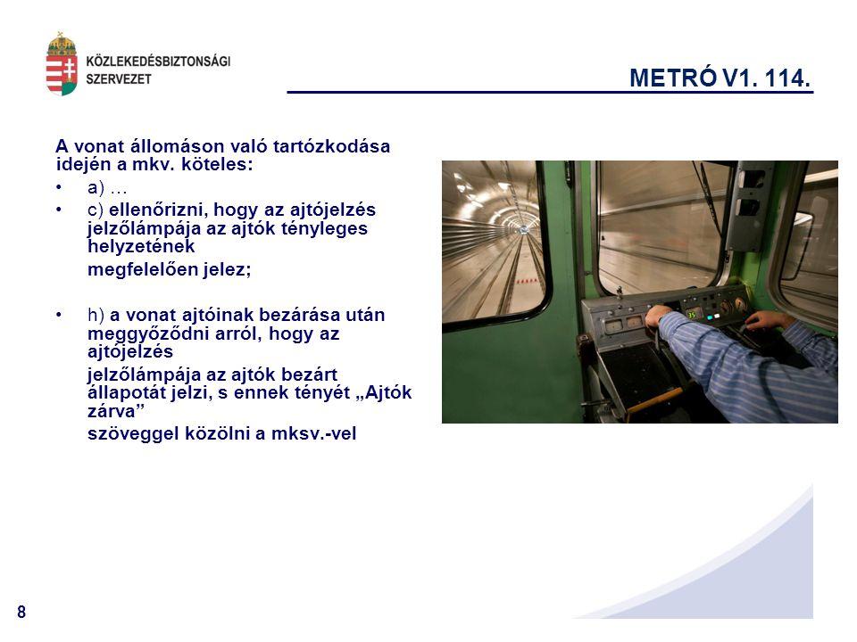 8 METRÓ V1.114. A vonat állomáson való tartózkodása idején a mkv.