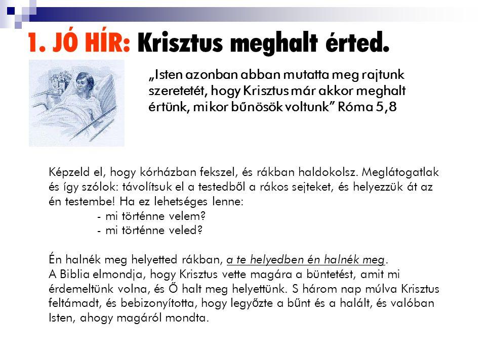 1. JÓ HÍR: Krisztus meghalt érted. Képzeld el, hogy kórházban fekszel, és rákban haldokolsz. Meglátogatlak és így szólok: távolítsuk el a testedb ő l