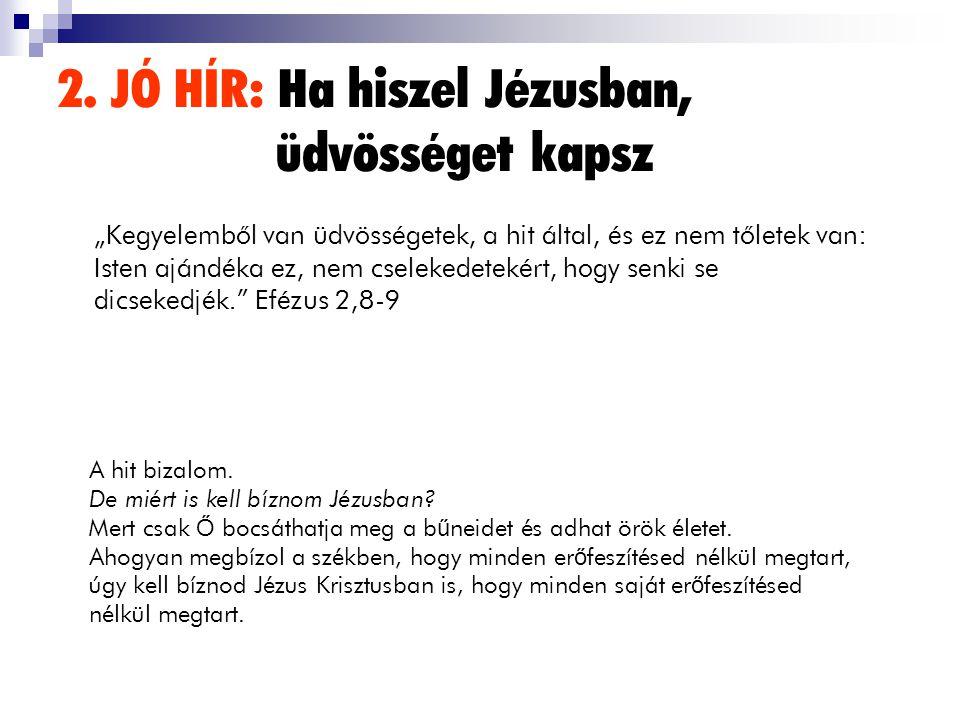"""2. JÓ HÍR: Ha hiszel Jézusban, üdvösséget kapsz """"Kegyelembôl van üdvösségetek, a hit által, és ez nem tôletek van: Isten ajándéka ez, nem cselekedetek"""