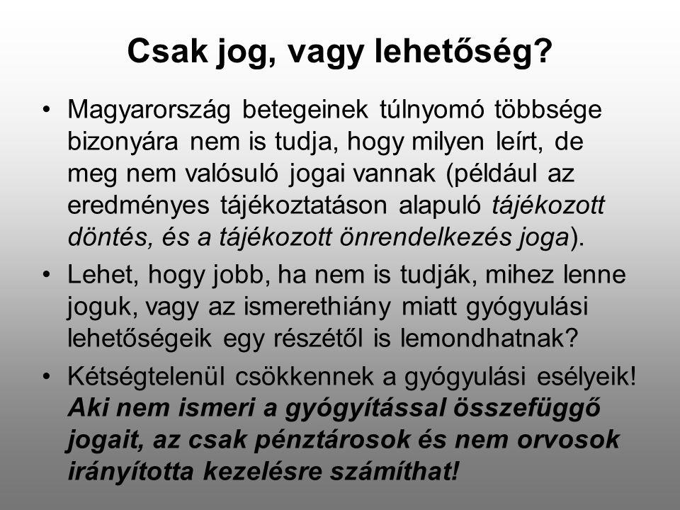 Csak jog, vagy lehetőség? •Magyarország betegeinek túlnyomó többsége bizonyára nem is tudja, hogy milyen leírt, de meg nem valósuló jogai vannak (péld