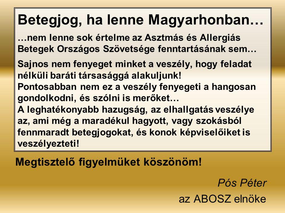 Betegjog, ha lenne Magyarhonban… …nem lenne sok értelme az Asztmás és Allergiás Betegek Országos Szövetsége fenntartásának sem… Sajnos nem fenyeget mi