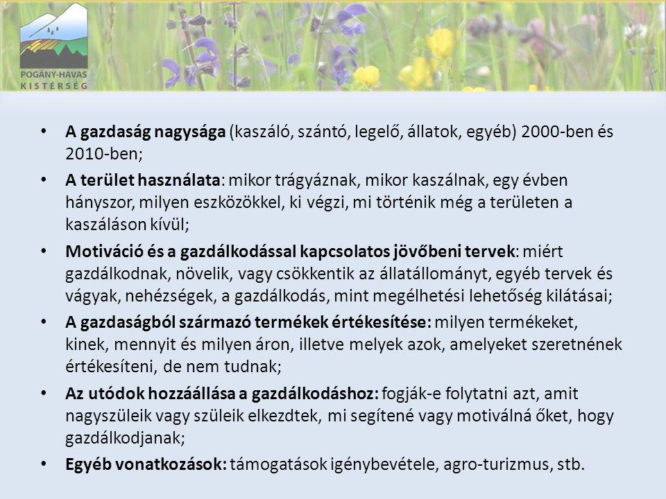 • A gazdaság nagysága (kaszáló, szántó, legelő, állatok, egyéb) 2000-ben és 2010-ben; • A terület használata: mikor trágyáznak, mikor kaszálnak, egy évben hányszor, milyen eszközökkel, ki végzi, mi történik még a területen a kaszáláson kívül; • Motiváció és a gazdálkodással kapcsolatos jövőbeni tervek: miért gazdálkodnak, növelik, vagy csökkentik az állatállományt, egyéb tervek és vágyak, nehézségek, a gazdálkodás, mint megélhetési lehetőség kilátásai; • A gazdaságból származó termékek értékesítése: milyen termékeket, kinek, mennyit és milyen áron, illetve melyek azok, amelyeket szeretnének értékesíteni, de nem tudnak; • Az utódok hozzáállása a gazdálkodáshoz: fogják-e folytatni azt, amit nagyszüleik vagy szüleik elkezdtek, mi segítené vagy motiválná őket, hogy gazdálkodjanak; • Egyéb vonatkozások: támogatások igénybevétele, agro-turizmus, stb.