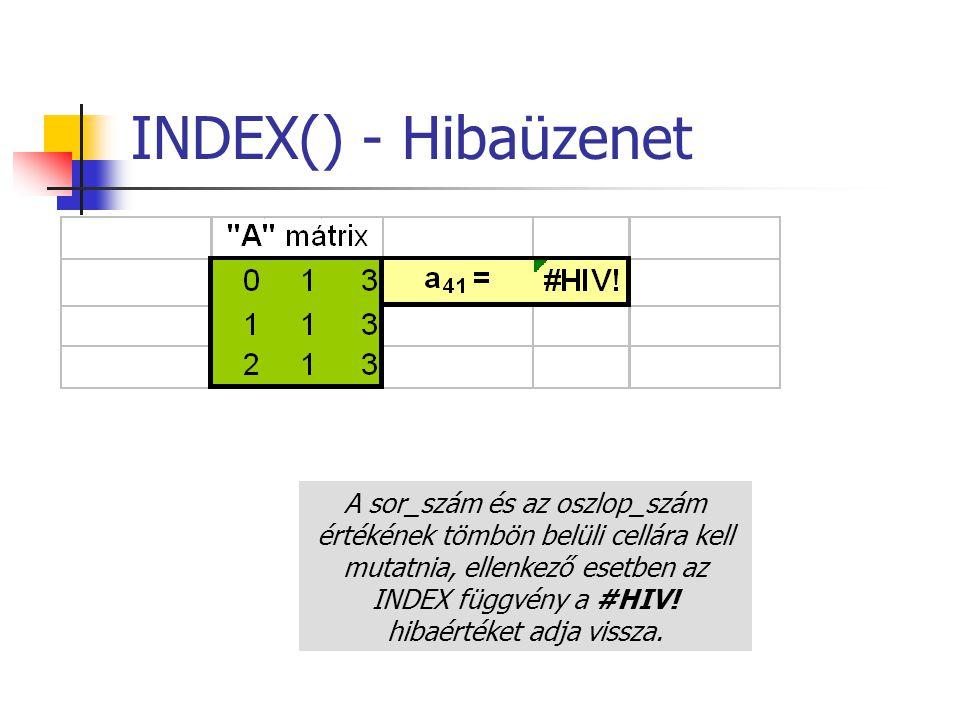 INDEX() - Hibaüzenet A sor_szám és az oszlop_szám értékének tömbön belüli cellára kell mutatnia, ellenkező esetben az INDEX függvény a #HIV! hibaérték