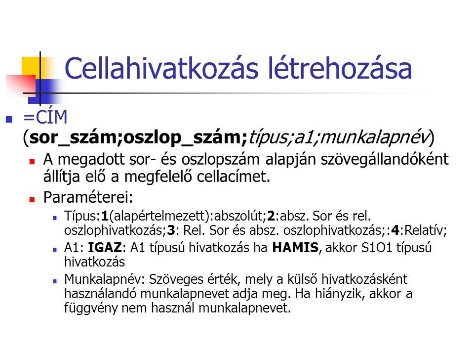 Cellahivatkozás létrehozása  =CÍM (sor_szám;oszlop_szám;típus;a1;munkalapnév)  A megadott sor- és oszlopszám alapján szövegállandóként állítja elő a