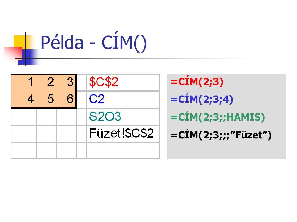 """Példa - CÍM() =CÍM(2;3) =CÍM(2;3;4) =CÍM(2;3;;HAMIS) =CÍM(2;3;;;""""Füzet"""")"""