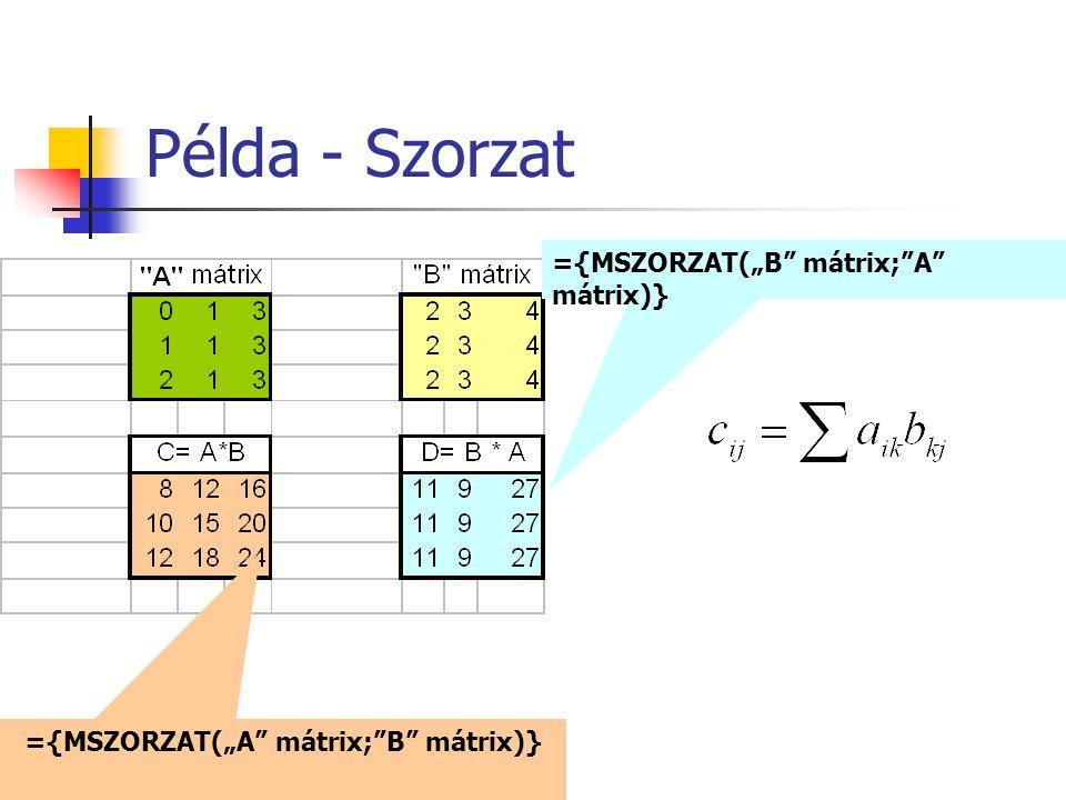 """Példa - Szorzat ={MSZORZAT(""""A"""" mátrix;""""B"""" mátrix)} ={MSZORZAT(""""B"""" mátrix;""""A"""" mátrix)}"""