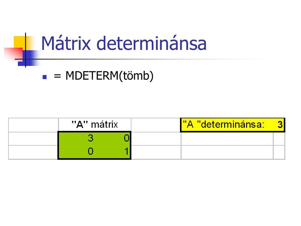 Mátrix determinánsa  = MDETERM(tömb)