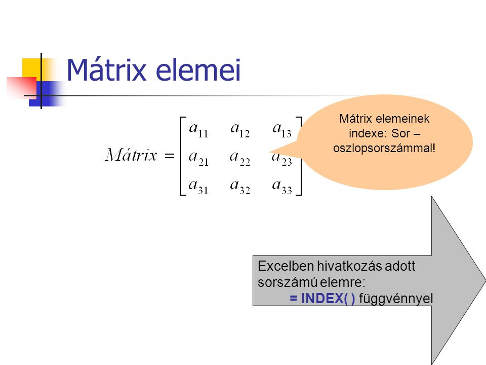 Mátrix elemei Mátrix elemeinek indexe: Sor – oszlopsorszámmal! Excelben hivatkozás adott sorszámú elemre: = INDEX( ) függvénnyel