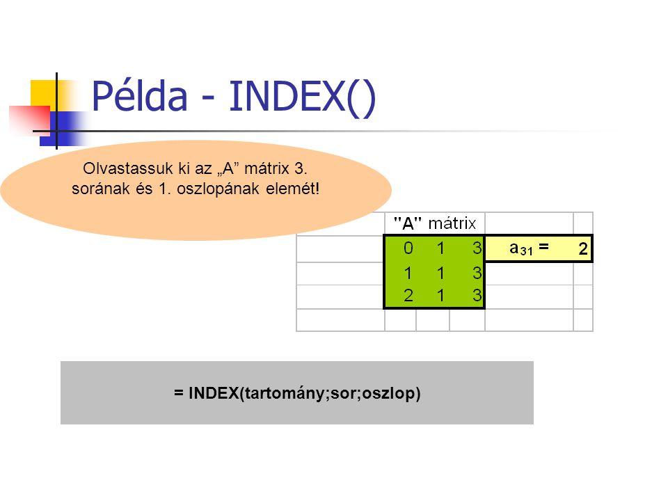 """Példa - INDEX() Olvastassuk ki az """"A"""" mátrix 3. sorának és 1. oszlopának elemét! = INDEX(tartomány;sor;oszlop)"""