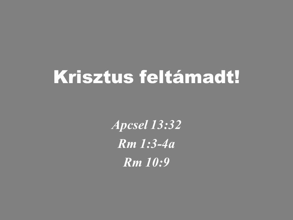 Krisztus feltámadt! Apcsel 13:32 Rm 1:3-4a Rm 10:9