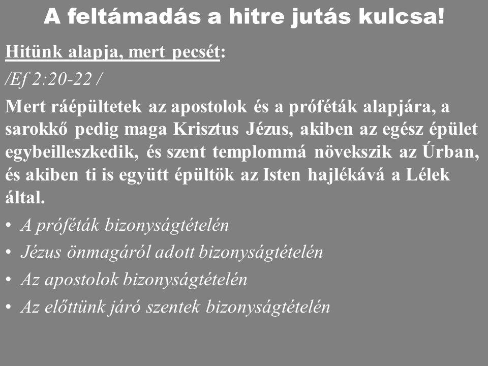 Hitünk alapja, mert pecsét: /Ef 2:20-22 / Mert ráépültetek az apostolok és a próféták alapjára, a sarokkő pedig maga Krisztus Jézus, akiben az egész é
