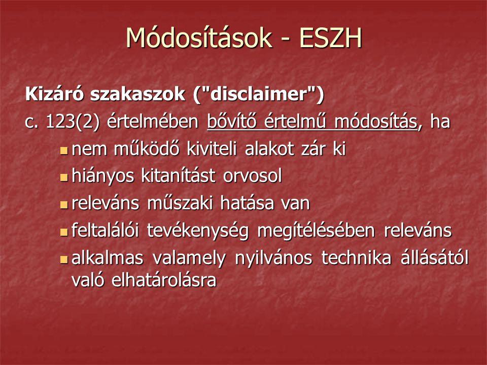 Módosítások - ESZH Kizáró szakaszok (