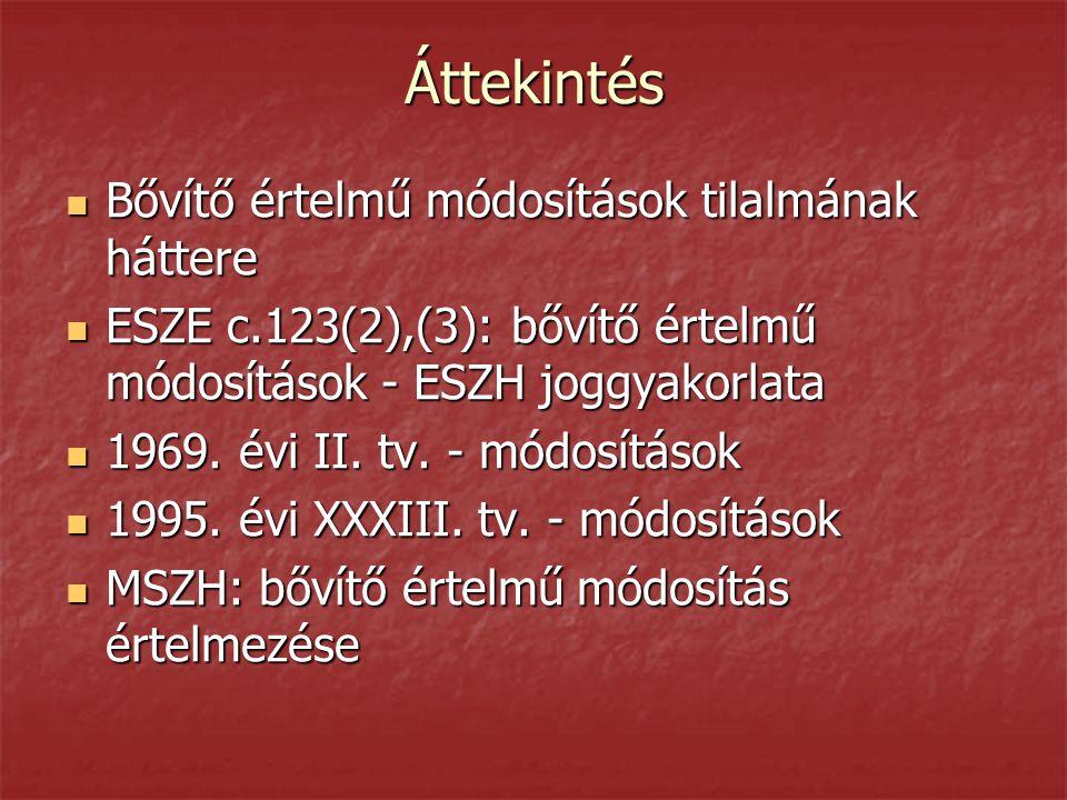 Áttekintés  Bővítő értelmű módosítások tilalmának háttere  ESZE c.123(2),(3): bővítő értelmű módosítások - ESZH joggyakorlata  1969. évi II. tv. -