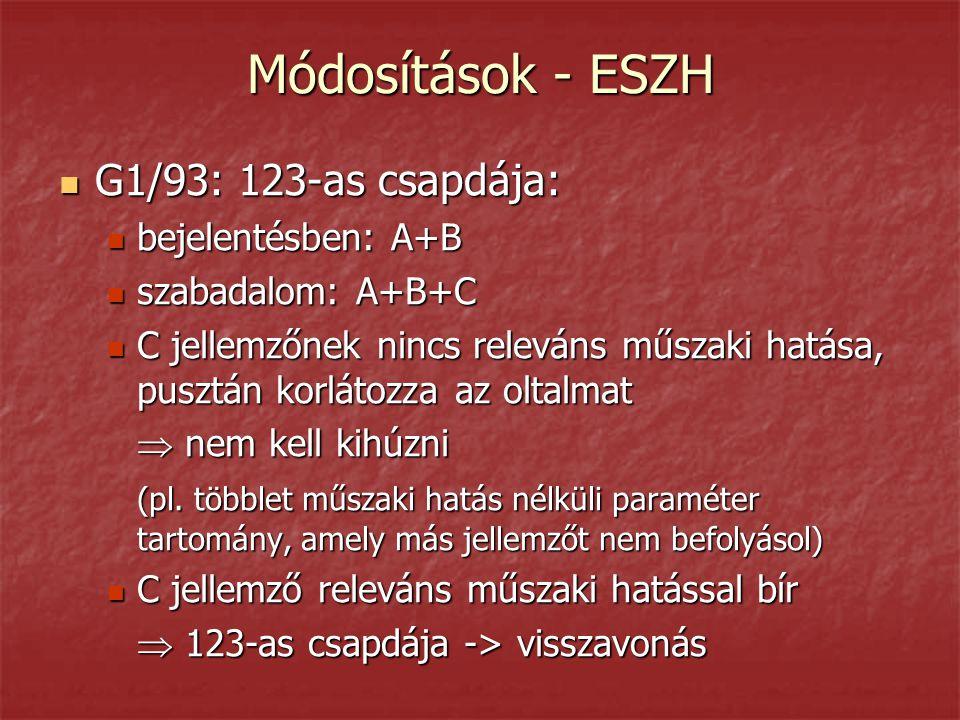 Módosítások - ESZH  G1/93: 123-as csapdája:  bejelentésben: A+B  szabadalom: A+B+C  C jellemzőnek nincs releváns műszaki hatása, pusztán korlátozza az oltalmat  nem kell kihúzni (pl.