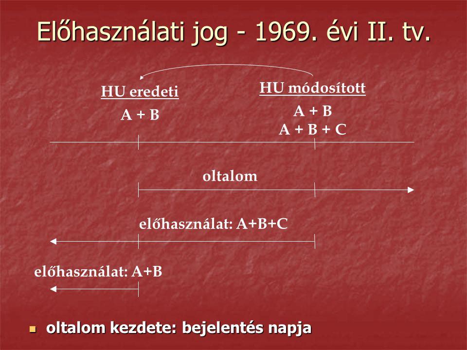 Előhasználati jog - 1969. évi II. tv.  oltalom kezdete: bejelentés napja HU módosított A + B A + B + C HU eredeti A + B oltalom előhasználat: A+B+C e
