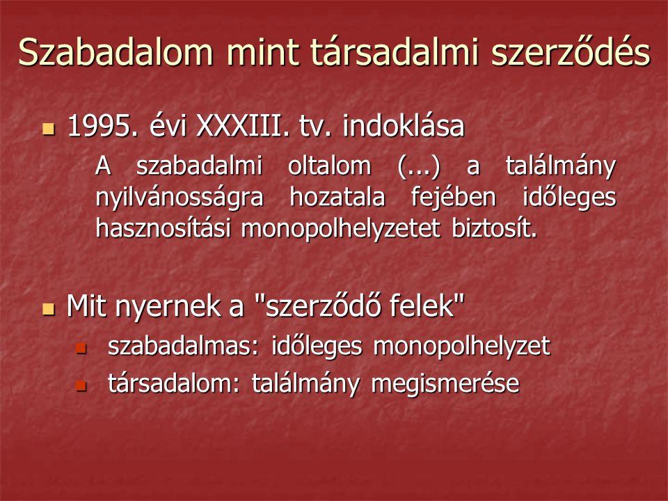 Szabadalom mint társadalmi szerződés  1995. évi XXXIII. tv. indoklása A szabadalmi oltalom (...) a találmány nyilvánosságra hozatala fejében időleges