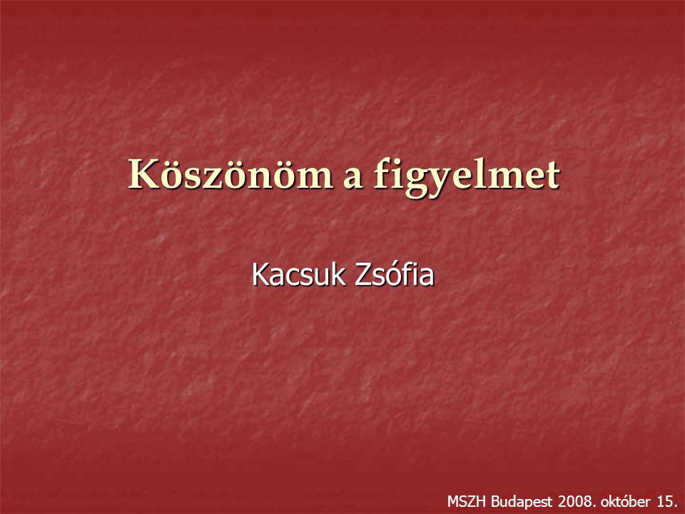 Köszönöm a figyelmet Kacsuk Zsófia MSZH Budapest 2008. október 15.