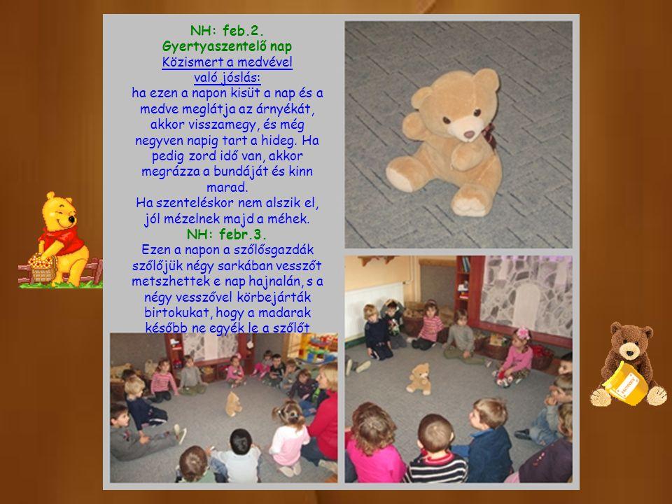 NH: feb.2. Gyertyaszentelő nap Közismert a medvével való jóslás: ha ezen a napon kisüt a nap és a medve meglátja az árnyékát, akkor visszamegy, és még