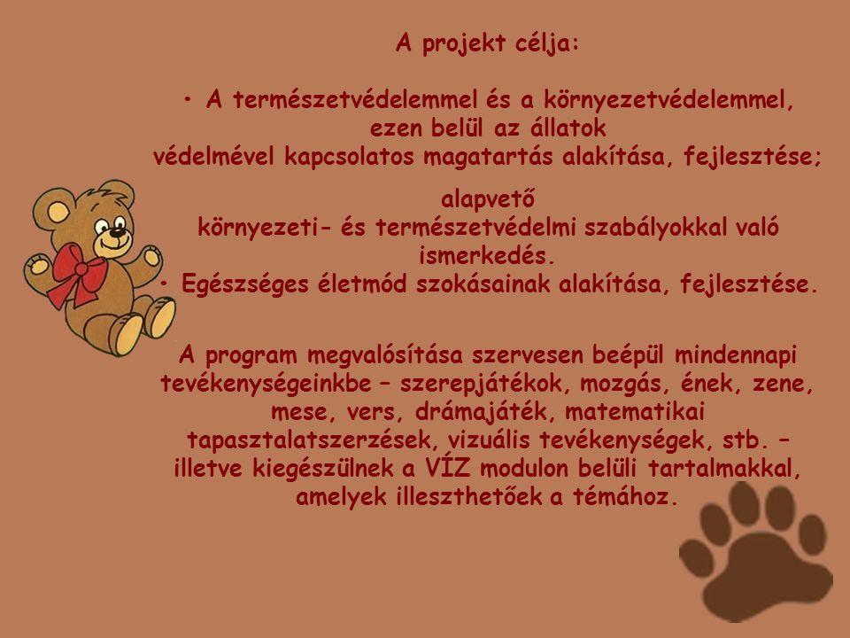 A projekt célja: • A természetvédelemmel és a környezetvédelemmel, ezen belül az állatok védelmével kapcsolatos magatartás alakítása, fejlesztése; ala