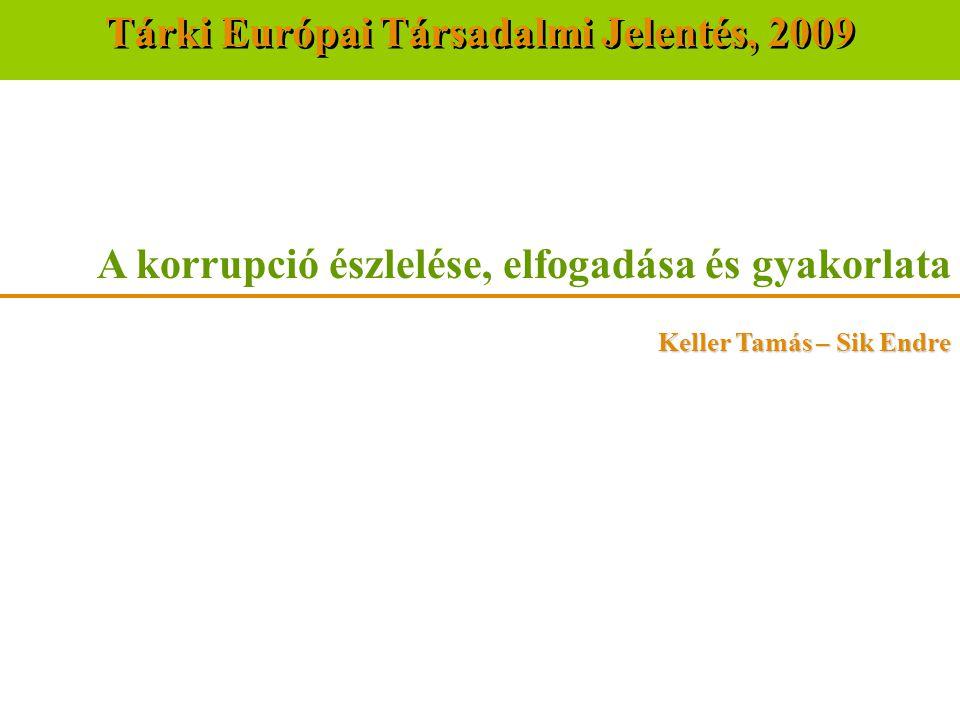 A korrupció észlelése, elfogadása és gyakorlata Keller Tamás – Sik Endre Tárki Európai Társadalmi Jelentés, 2009