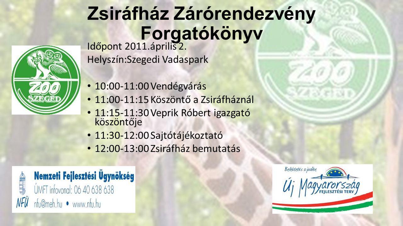 Zsiráfház Zárórendezvény Forgatókönyv Időpont 2011.április 2. Helyszín:Szegedi Vadaspark • 10:00-11:00 Vendégvárás • 11:00-11:15 Köszöntő a Zsiráfházn