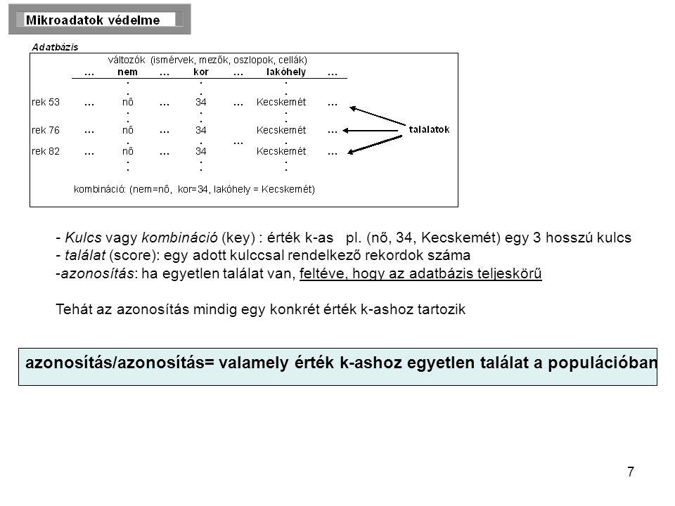 7 - Kulcs vagy kombináció (key) : érték k-as pl.