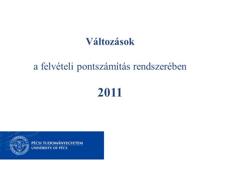 2011 – A FELVÉTELI PONTRENDSZER VÁLTOZÁSAI A pontszámítás rendszere 2011-ben A 400+80 pontos rendszer idén még marad, de a többletpontok, így a • nyelvvizsgák, a • sportteljesítmények, a • OKTV versenyek, valamint a • speciális többletpontok pontrendszere változik.