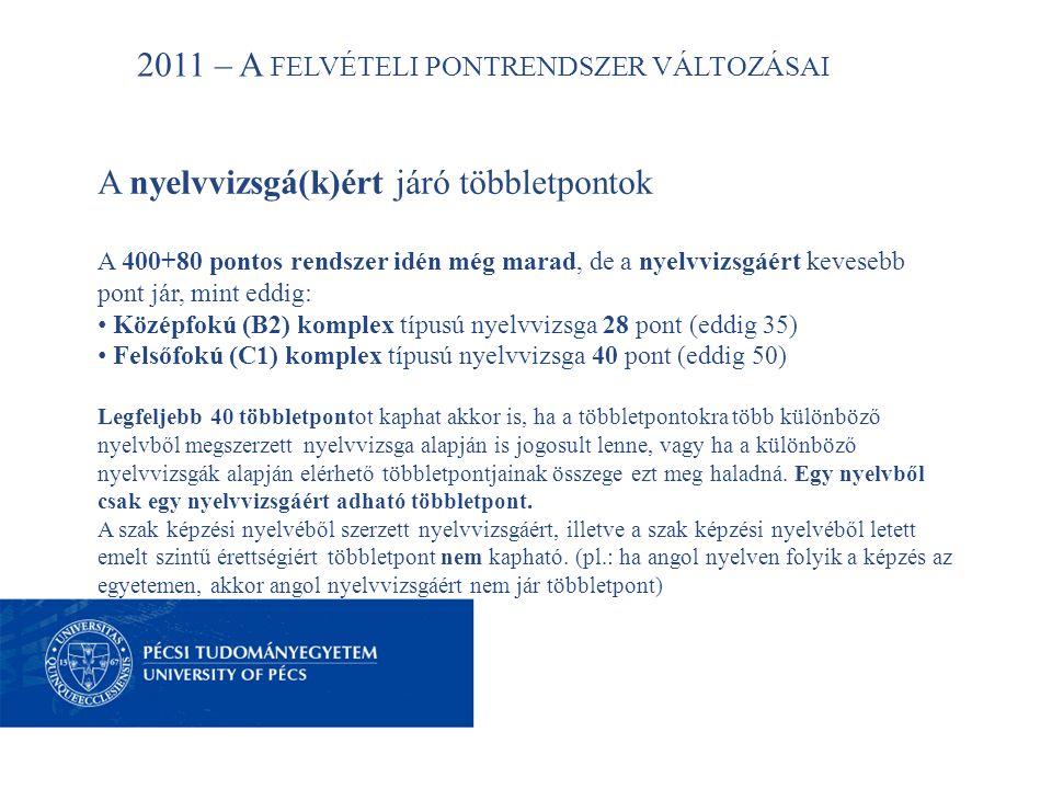 2011 – A FELVÉTELI PONTRENDSZER VÁLTOZÁSAI A nyelvvizsgá(k)ért járó többletpontok A 400+80 pontos rendszer idén még marad, de a nyelvvizsgáért kevesebb pont jár, mint eddig: • Középfokú (B2) komplex típusú nyelvvizsga 28 pont (eddig 35) • Felsőfokú (C1) komplex típusú nyelvvizsga 40 pont (eddig 50) Legfeljebb 40 többletpontot kaphat akkor is, ha a többletpontokra több különböző nyelvből megszerzett nyelvvizsga alapján is jogosult lenne, vagy ha a különböző nyelvvizsgák alapján elérhető többletpontjainak összege ezt meg haladná.