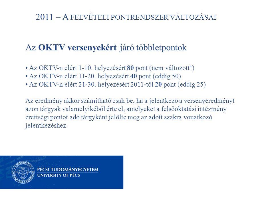 2011 – A FELVÉTELI PONTRENDSZER VÁLTOZÁSAI Az OKTV versenyekért járó többletpontok • Az OKTV-n elért 1-10.