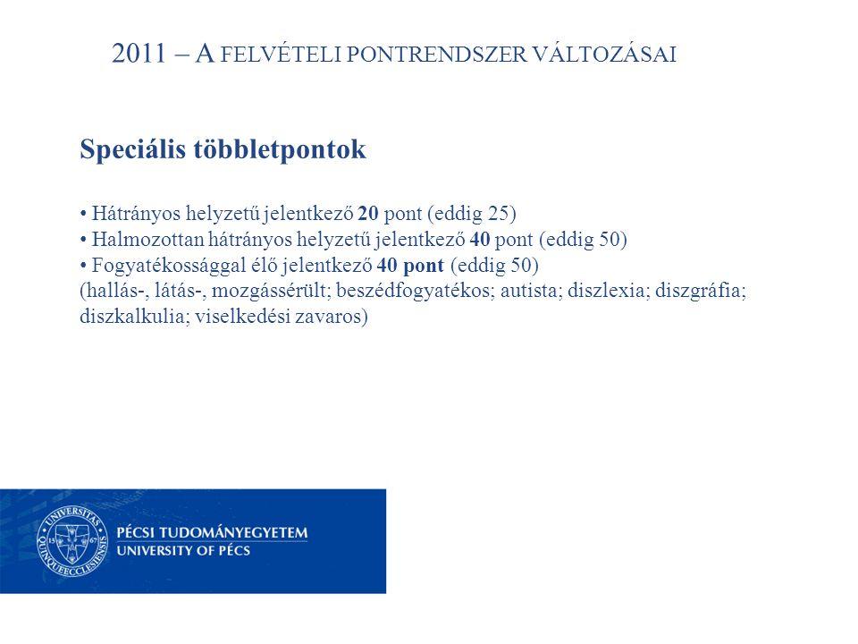 2011 – A FELVÉTELI PONTRENDSZER VÁLTOZÁSAI Speciális többletpontok • Hátrányos helyzetű jelentkező 20 pont (eddig 25) • Halmozottan hátrányos helyzetű jelentkező 40 pont (eddig 50) • Fogyatékossággal élő jelentkező 40 pont (eddig 50) (hallás-, látás-, mozgássérült; beszédfogyatékos; autista; diszlexia; diszgráfia; diszkalkulia; viselkedési zavaros)