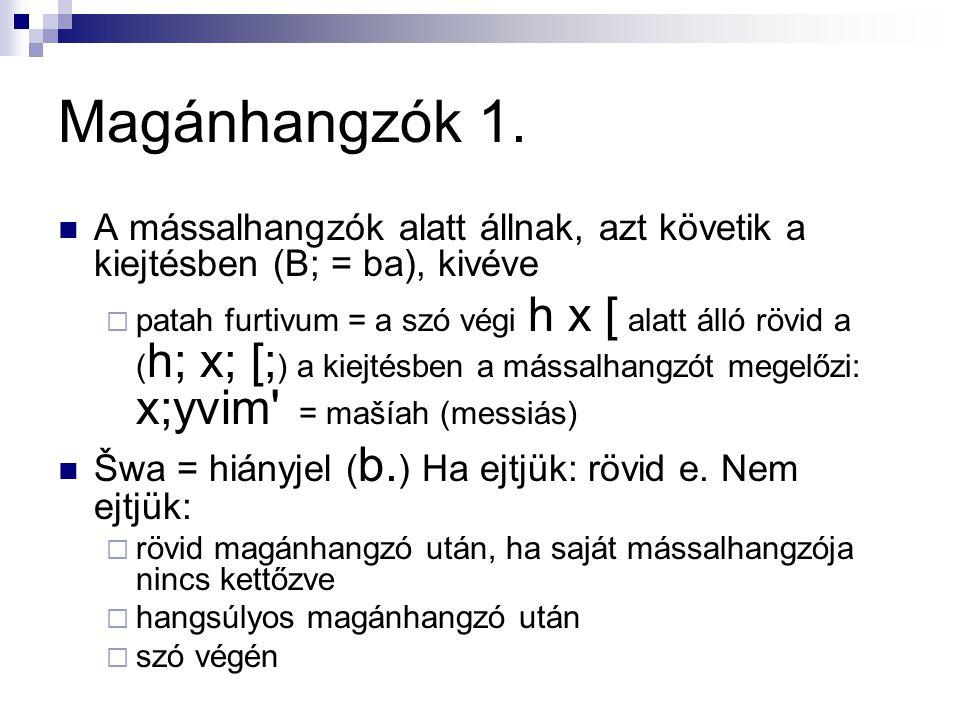 Magánhangzók 1.  A mássalhangzók alatt állnak, azt követik a kiejtésben (B; = ba), kivéve  patah furtivum = a szó végi h x [ alatt álló rövid a ( h;