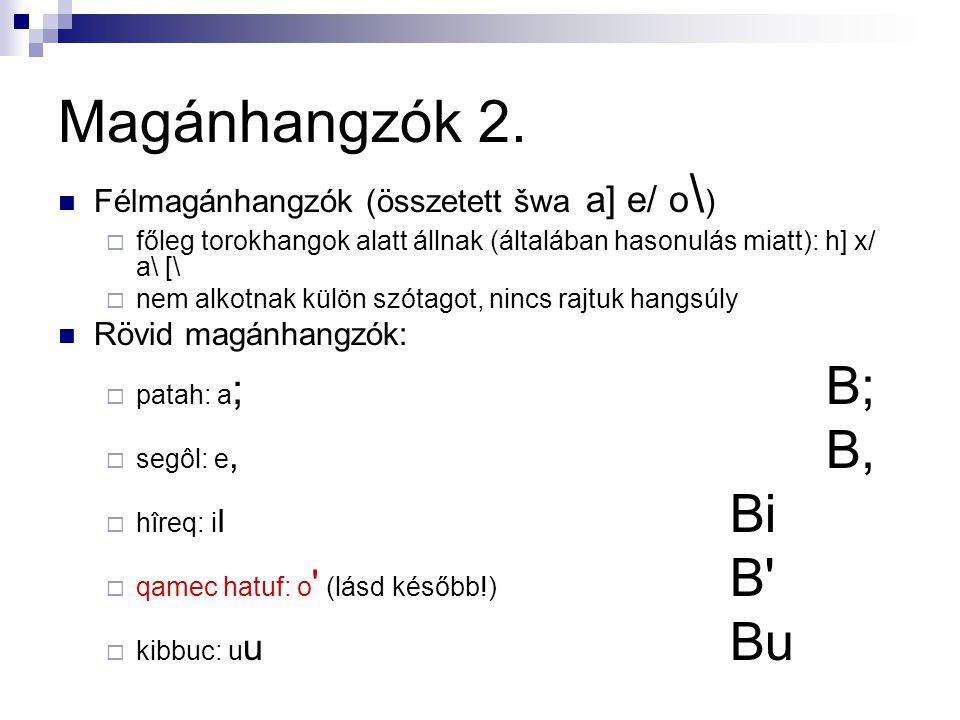 Magánhangzók 2.  Félmagánhangzók (összetett šwa a] e/ o \ )  főleg torokhangok alatt állnak (általában hasonulás miatt): h] x/ a\ [\  nem alkotnak