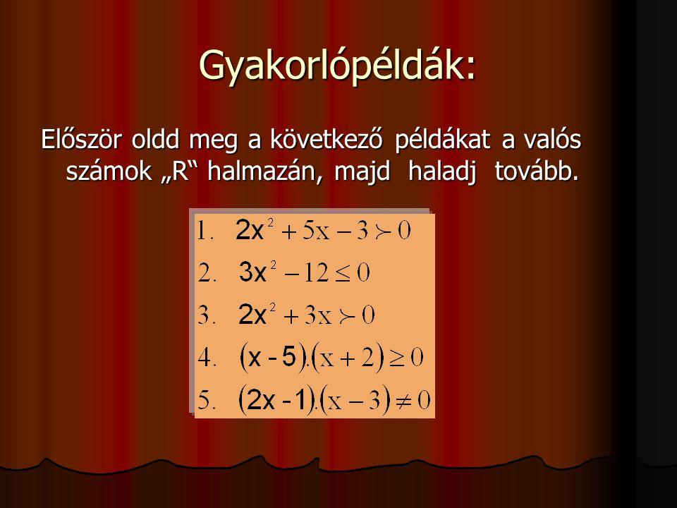 """Gyakorlópéldák: Először oldd meg a következő példákat a valós számok """"R"""" halmazán, majd haladj tovább."""