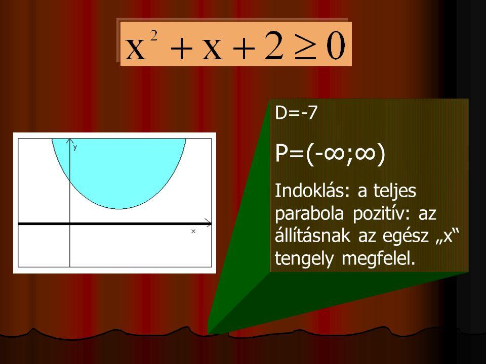 """D=-7 P=(-∞;∞) Indoklás: a teljes parabola pozitív: az állításnak az egész """"x"""" tengely megfelel."""