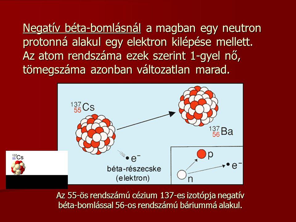 Negatív béta-bomlásnál a magban egy neutron protonná alakul egy elektron kilépése mellett. Az atom rendszáma ezek szerint 1-gyel nő, tömegszáma azonba