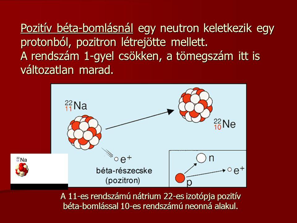 Pozitív béta-bomlásnál egy neutron keletkezik egy protonból, pozitron létrejötte mellett. A rendszám 1-gyel csökken, a tömegszám itt is változatlan ma