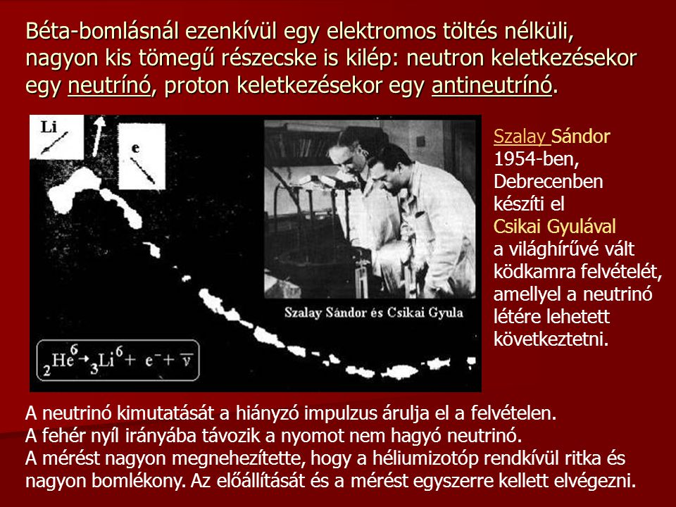 Béta-bomlásnál ezenkívül egy elektromos töltés nélküli, nagyon kis tömegű részecske is kilép: neutron keletkezésekor egy neutrínó, proton keletkezések