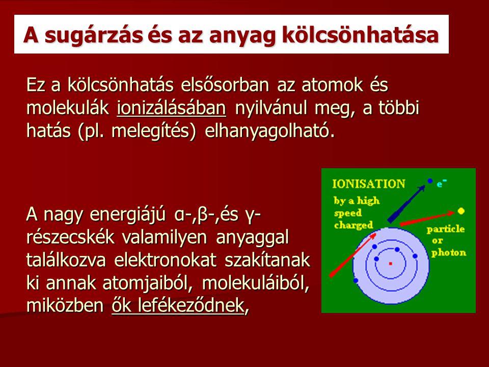 A sugárzás és az anyag kölcsönhatása Ez a kölcsönhatás elsősorban az atomok és molekulák ionizálásában nyilvánul meg, a többi hatás (pl. melegítés) el
