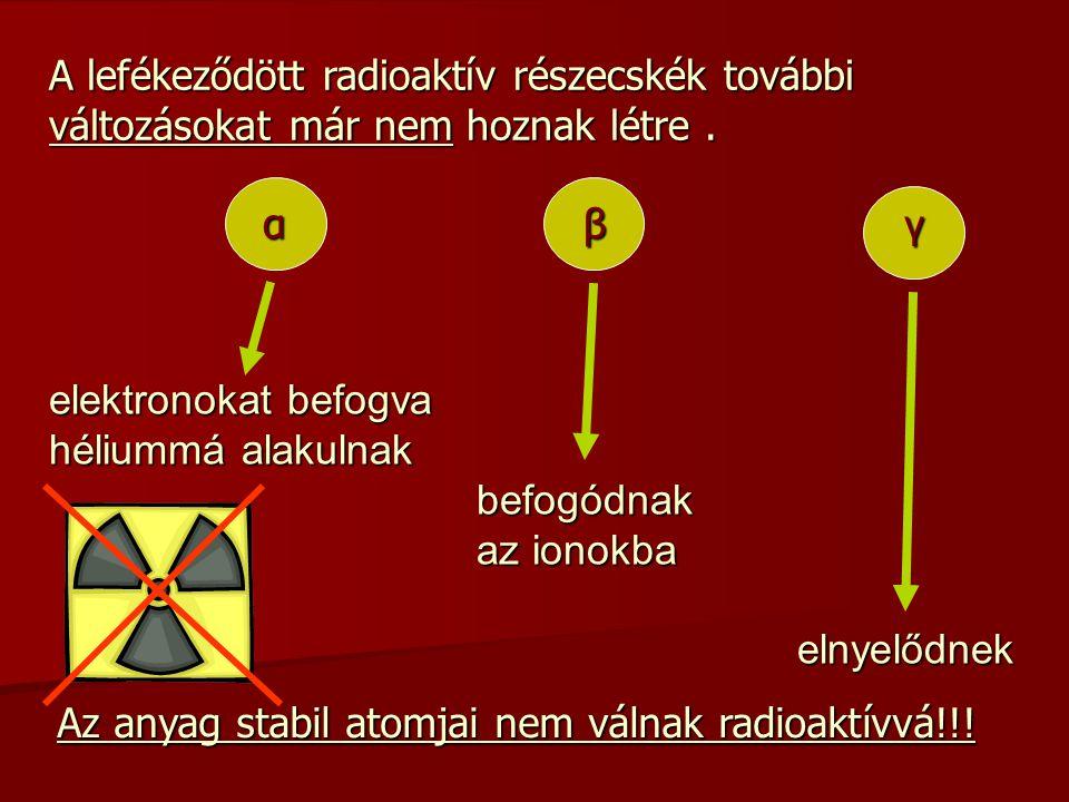 A lefékeződött radioaktív részecskék további változásokat már nem hoznak létre. αβ γ Az anyag stabil atomjai nem válnak radioaktívvá!!! elektronokat b
