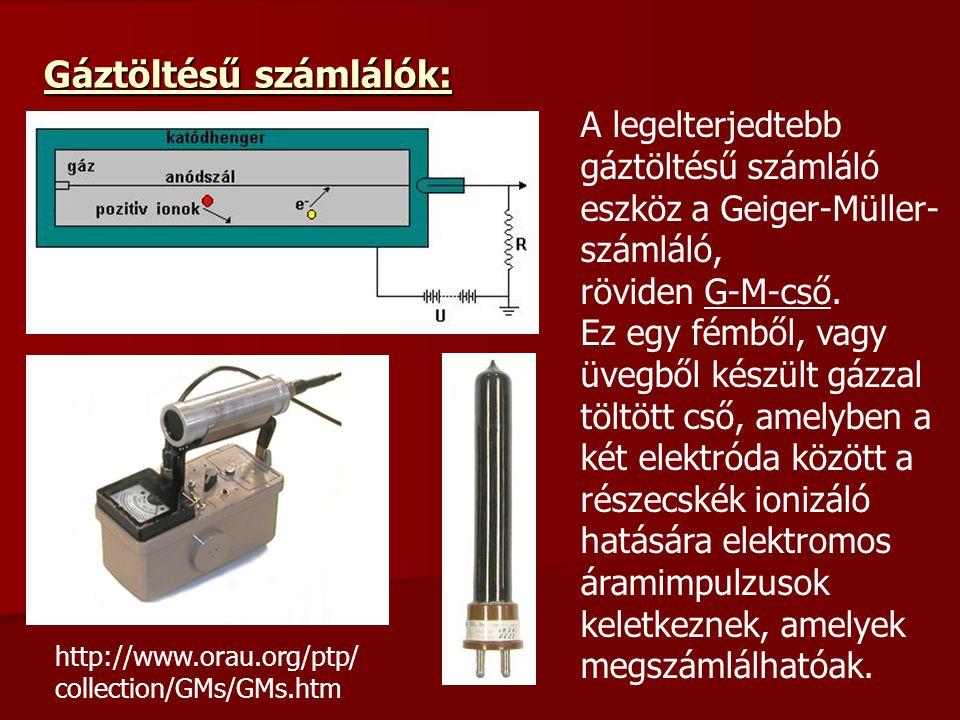 Gáztöltésű számlálók: A legelterjedtebb gáztöltésű számláló eszköz a Geiger-Müller- számláló, röviden G-M-cső. Ez egy fémből, vagy üvegből készült gáz