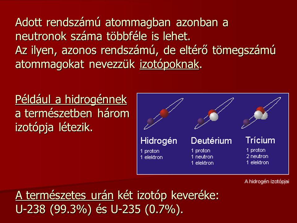 Adott rendszámú atommagban azonban a neutronok száma többféle is lehet. Az ilyen, azonos rendszámú, de eltérő tömegszámú atommagokat nevezzük izotópok