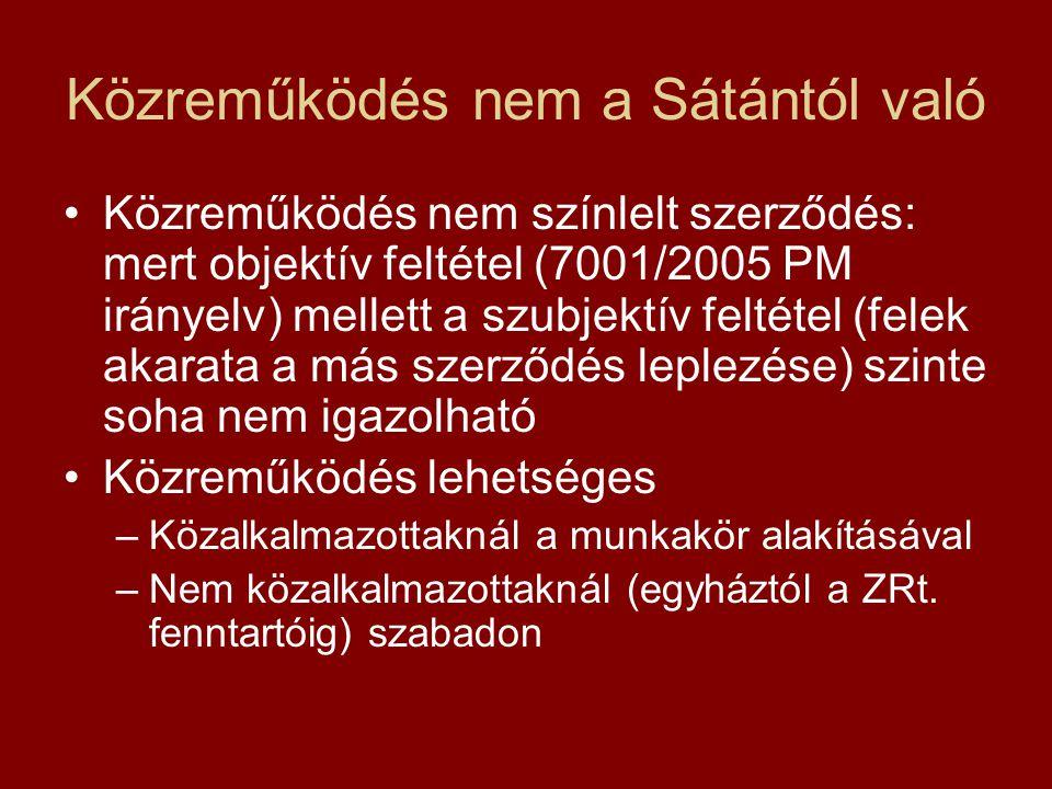 Közreműködés nem a Sátántól való •Közreműködés nem színlelt szerződés: mert objektív feltétel (7001/2005 PM irányelv) mellett a szubjektív feltétel (felek akarata a más szerződés leplezése) szinte soha nem igazolható •Közreműködés lehetséges –Közalkalmazottaknál a munkakör alakításával –Nem közalkalmazottaknál (egyháztól a ZRt.
